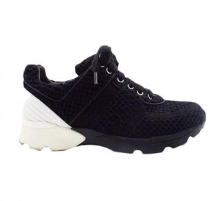 Chanel Black & White Tweed Sneakers