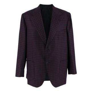 Donato Liguori Navy & Claret Gingham Cashmere Tailored Jacket