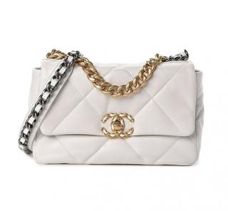 Chanel Small White Lambskin 19 Bag