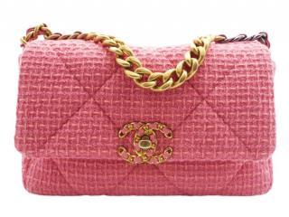 Chanel Pink Tweed Small 19 Bag