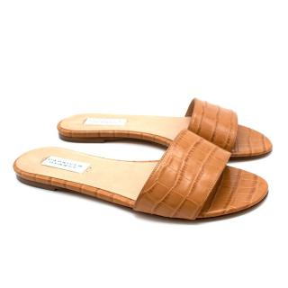 Gabriela Hearst Camel Franzine Croc-effect Leather Slides