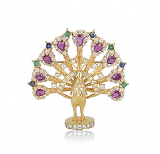 Bespoke Yellow Gold Diamond, Ruby, Sapphire & Emerald Peacock Brooch