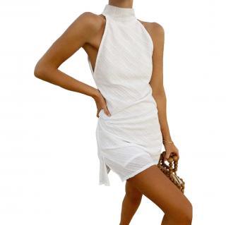 Turquoise Lane White High Neck Draped Back Mini Dress