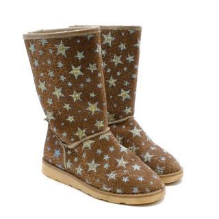 Missouri Kids Crystal Gold Stars Pattern Shearling-lined Boots