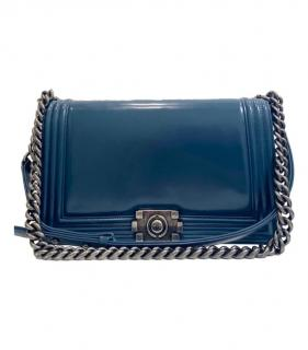 Chanel Blue Patent Leather Reverso Large Boy Flap Bag Glazed Calfskin.
