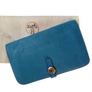 Hermes Turquoise blue Togo leather Dogon Wallet