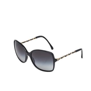 Chanel black gradient lens and chain detail sunglasses