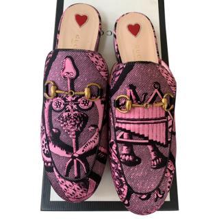 Gucci pink and black toile du joy print mules