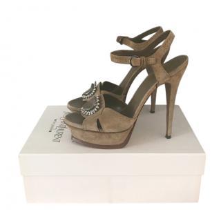Yves Saint Laurent Suede Embellished Tribute Sandals