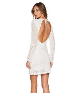 Zimmermann White Open Back Lace Mini Dress
