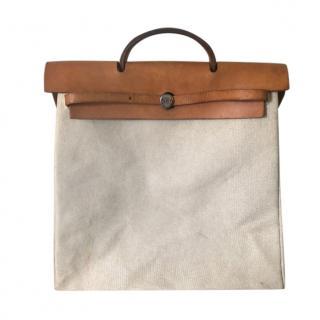 Hermes Canvas & Leather Herbag Tote Bag