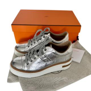 Hermes Voltage silver leather trainers - sold out