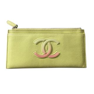 Chanel Yellow Leather CC Zip Wallet