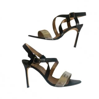 Manolo Blank silver and black heeled sandals