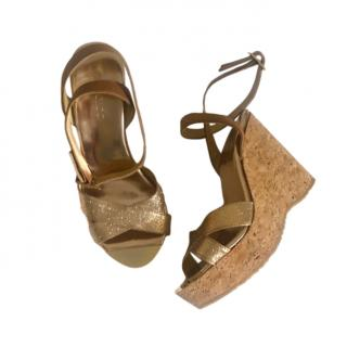 Jimmy Choo Gold Crossover Leather Wedges