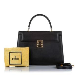 Fendi Black Leather Shouder Tote Business Bag