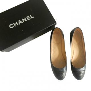 Chanel Black Heeled Leather Loafers