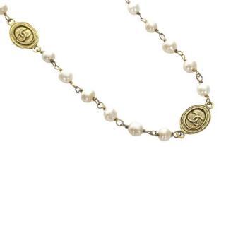 Chanel Faux Pearl Pendant Link Necklace
