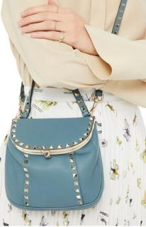 Valentino Blue Leather Rockstud Crossbody Bag