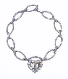 Bespoke 2.3ct baguette and round diamond heart white gold bracelet