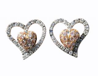 Leo Pizzo  white and pink diamond openwork heart earrings