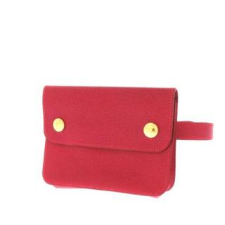Hermes Red Leather Courchevel Pochette Waist Bag
