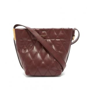 Givenchy Quilted Burgundy Leather GV Bucket Bag