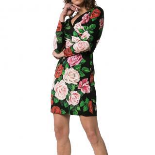 Dolce & Gabbana Rose Print Silk Mini Dress