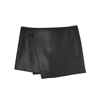 Narciso Rodriguez Black Wool & Silk Wrap Effect Mini Skirt