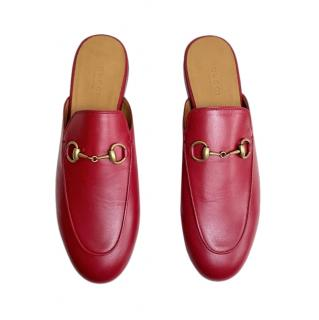 Gucci Red Leather Princetown Slippers