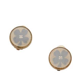 Chanel Glitter Four Leaf Clover Round Resin Earrings