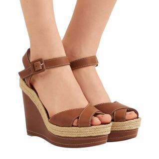 Christian Louboutin Tan Almeria 120 Jute Wedge Sandals