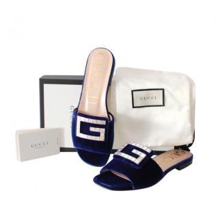 Gucci Blue Velvet Crystal G Slides