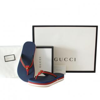 Gucci Navy/Green Web Thong Sandals