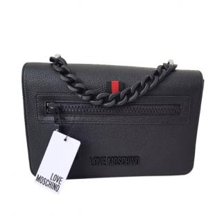 Love Moschino Black Textured Leather Chain Top Handle Bag