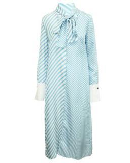 Monse blue & white contrast stripe pussybow dress
