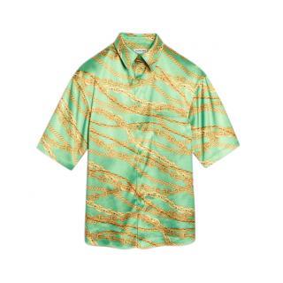 Balenciaga Green Bonded Satin Chain Print Shirt