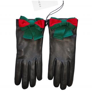 Gucci Black Leather Web Bow Gloves - Size 7