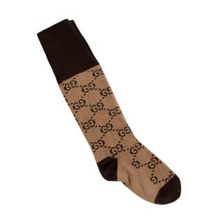 Gucci Beige & Brown GG Socks