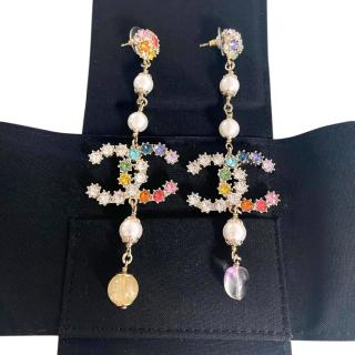 Chanel Multicoloured Crystal & Faux Pearl Embellished CC Drop Earrings