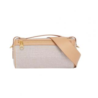 Burberry Soft Fawn The Embossed Logo Cotton Canvas Barrel Bag
