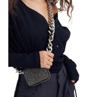 Kara Crystal Mesh Bike Wallet - Black / Silver