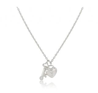 Tiffany Platinum Set Heart Lock & Key Pendant Necklace w/ Diamonds