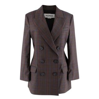 Monse Prince of Wales Check Wool Blend Double Breasted Blazer