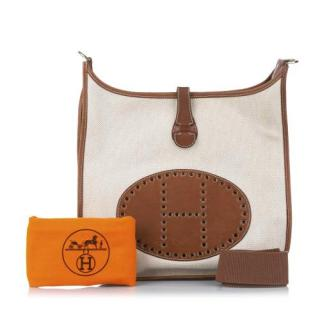 Hermes Toile Canvas & Leather Evelyne GM