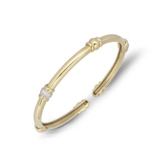 Bespoke Diamond Set 18ct Yellow Gold Torque Open Bracelet