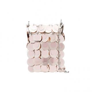 Paco Rabanne Rose Gold Mini 1969 Sparkle Disc Bag