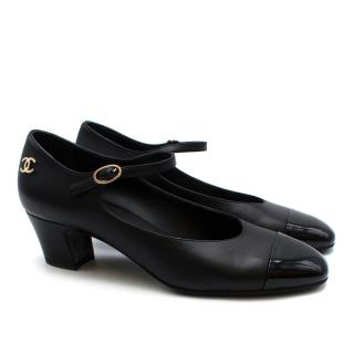 Chanel Black Leather Patent Cap-Toe Mary-Janes Pumps