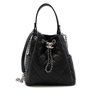Chanel Black Caviar Leather Quilted Drawstring Bucket Bag