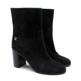Chanel Black Suede Heeled Ankle Boots
